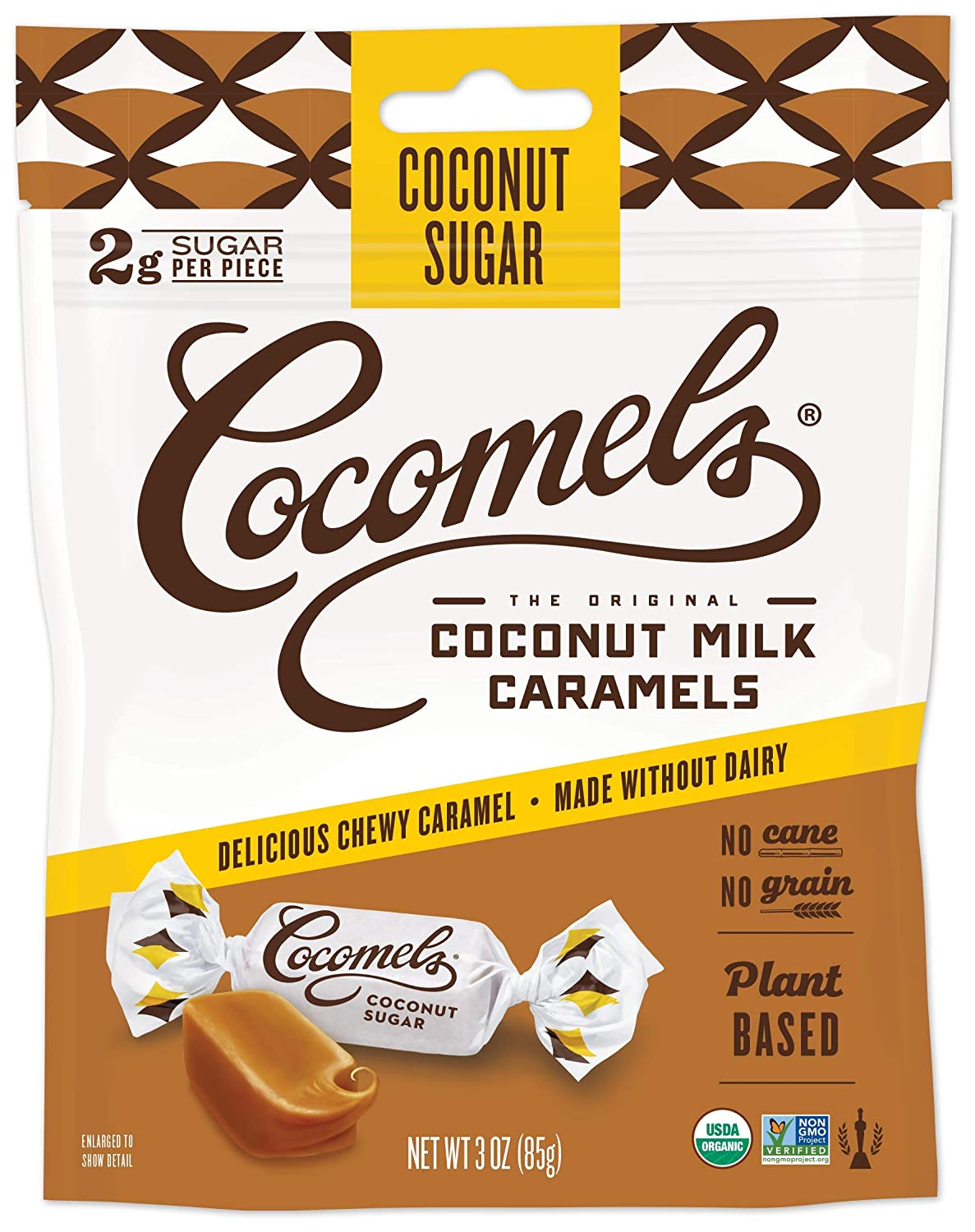 Cocomels Coconut Milk Caramels With Coconut Sugar, Organic Candy, Dairy Free, Sugar Free, Vegan, Gluten Free, Non-GMO, No Cane Sugar, No High Fructose Corn Syrup, Kosher, Plant Based, (1Pack)