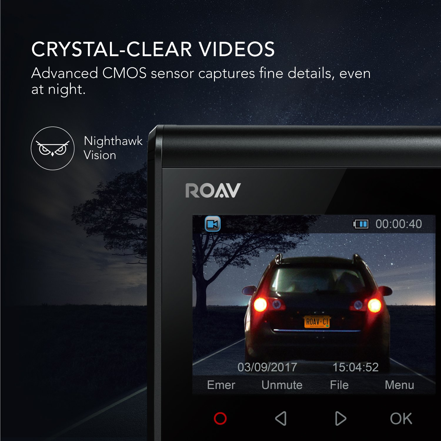 ROAV by Anker Dash Cam C1, Car Recorder with Sony Sensor, 1080P FHD, 4-Lane Wide-Angle View Lens, Built-in WiFi with APP, G-Sensor, WDR, Loop Recording, Night Mode, Parking Mode [Upgraded Version] by ROAV (Image #3)