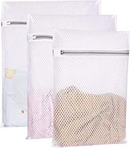 YMHB Mesh Laundry Bag - 3 Pack Durable and Reusable Wash Bag Travel Organization Bag for Garment, Bath Towels, Bed Sheet