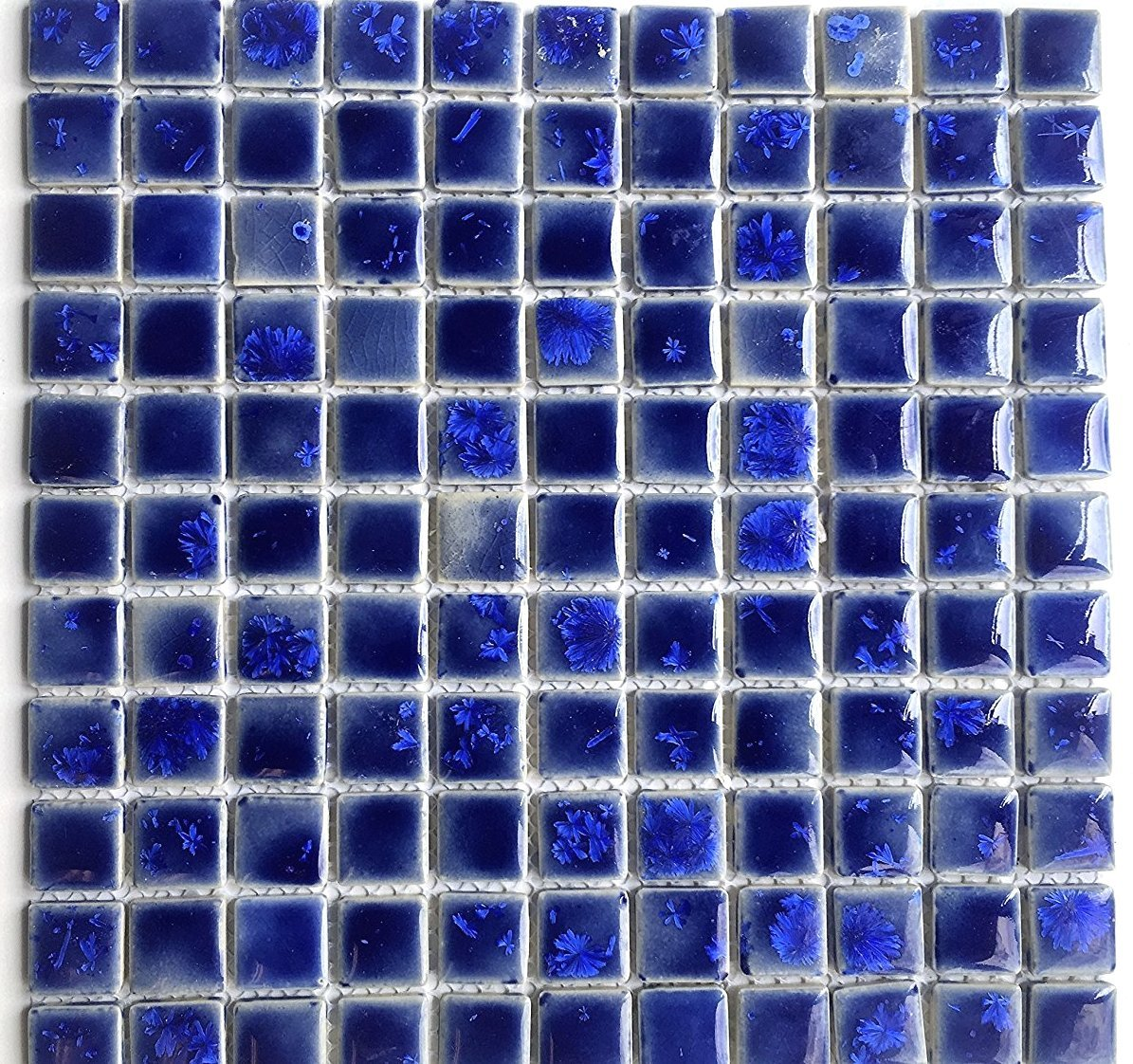 Amazon.com: 1x1 Blue Shimmering Glossy Finish Porcelain Mosaic Tile ...