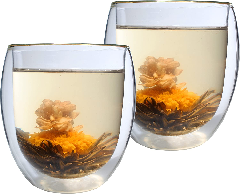Cocktails geeignet S/äfte Set Thermogl/äser mit Schwebe-Effekt by Feelino DUOS 2X 400ml doppelwandige Gl/äser Longdrinks Eistee auch f/ür Latte Macchiato 2 L/öffel