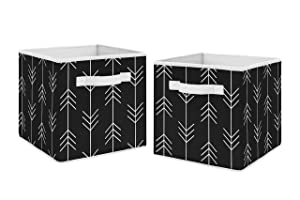 Sweet Jojo Designs Black and White Woodland Arrow Organizer Storage Bins for Rustic Patch Collection - Set of 2