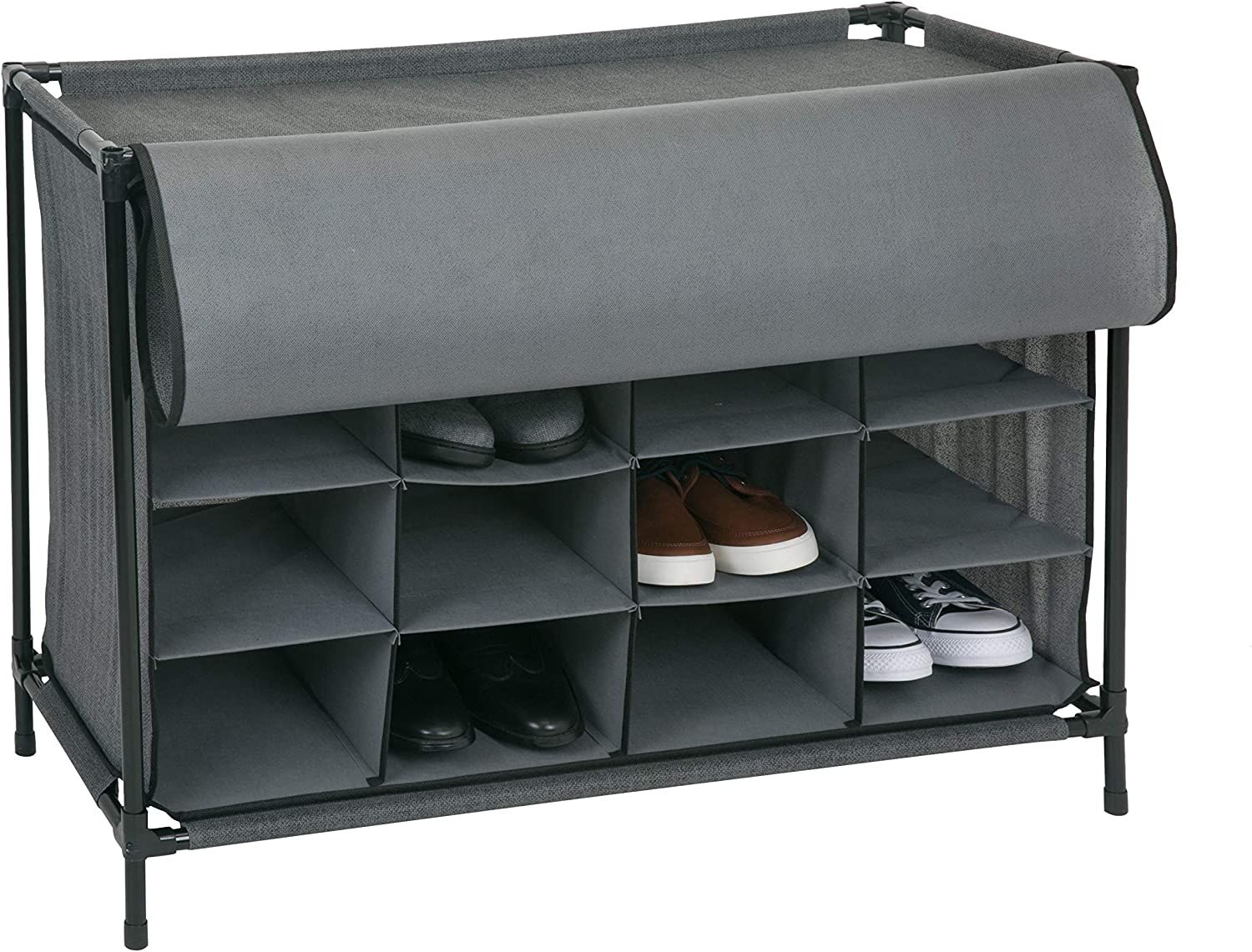 Grey Simplify 16 Pair Stackable Shoe Rack Organizer with Cover for Closet Bedroom /& Entryway
