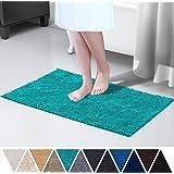 DEARTOWN 20x32 Inch TPR Non-Slip Soft Microfibers of Bathroom Rug Machine-Washable Shaggy Bath Mats - Turquoise