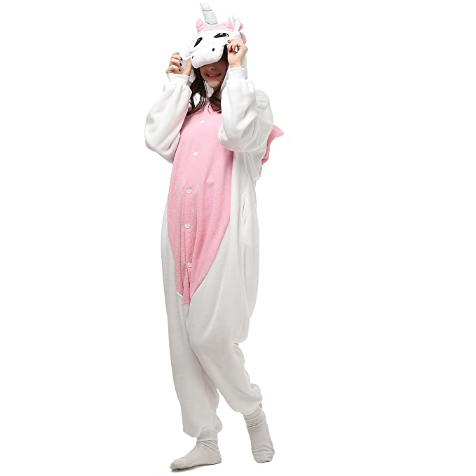Tooplab - Pijama de una pieza - para hombre Gris Unicornio Rosa XL