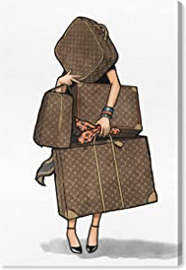 """The Oliver Gal Artist Co. Fashion and Glam Wall Art Canvas Prints, Bags-Orange' Home Décor, 10"""" x 15"""", Brown"""
