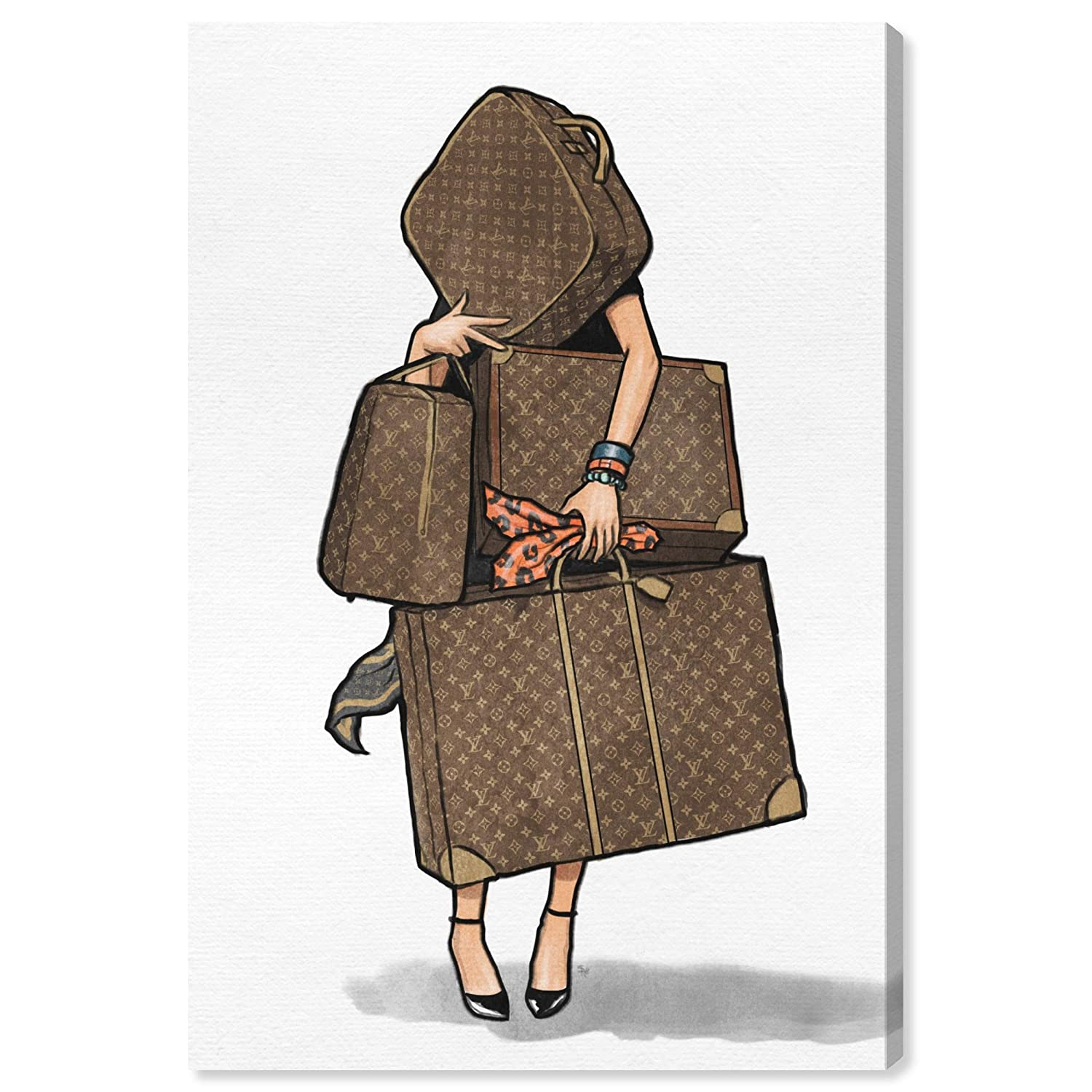 """The Oliver Gal Artist Co. Fashion and Glam Wall Art Canvas Prints, Bags-Orange' Home Décor, 16"""" x 24"""", Brown"""