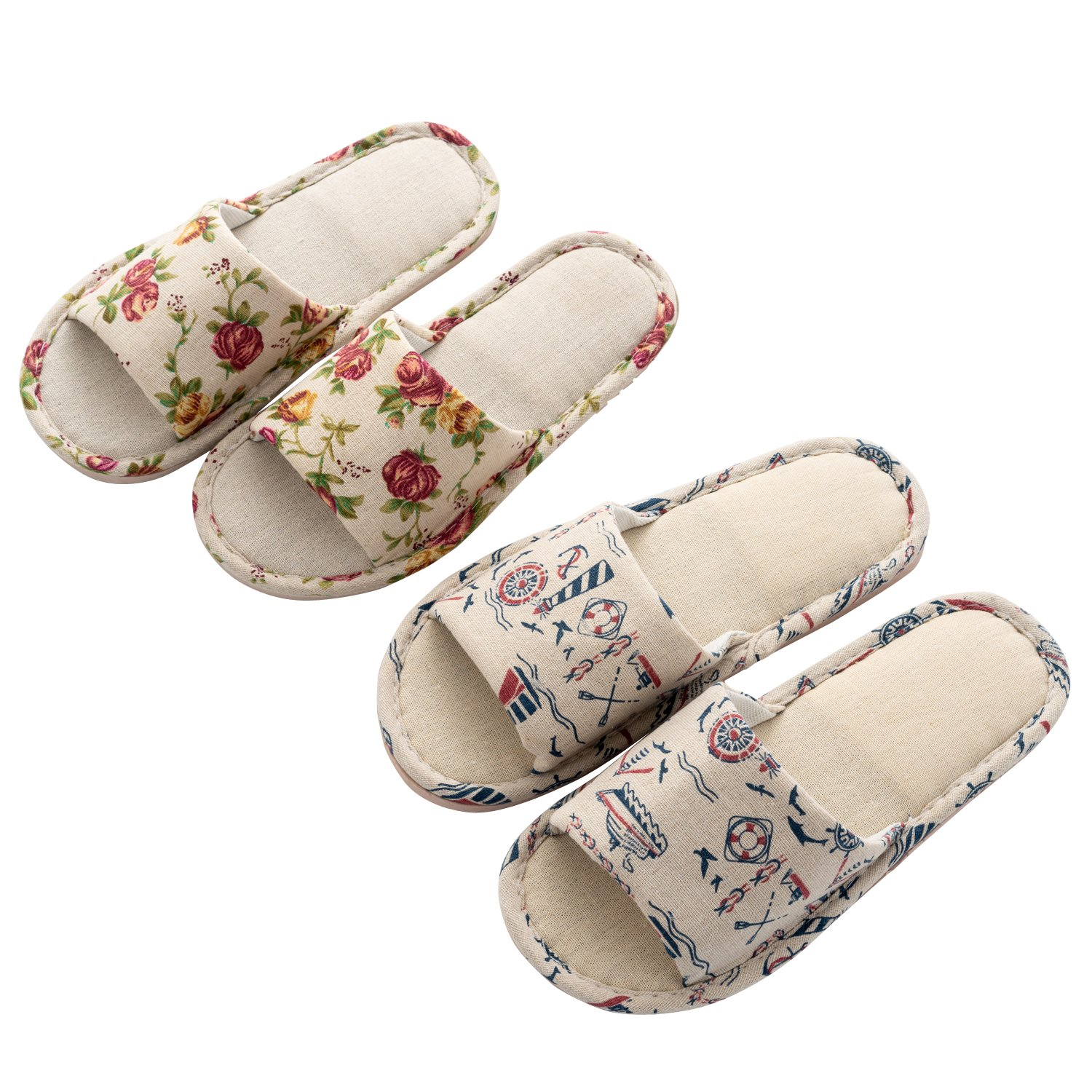 handrong 2 Pairs Home Slippers Mens Womens Indoor Open Toe Slip On Slipper Casual Soft Cotton Flax for Bedroom (Flower & Pattern)
