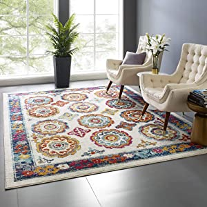 Modway Entourage Odile Transitional Distressed Vintage Floral Moroccan Trellis 8x10 Area Rug, Ivory, Blue, Red, Orange, Yellow