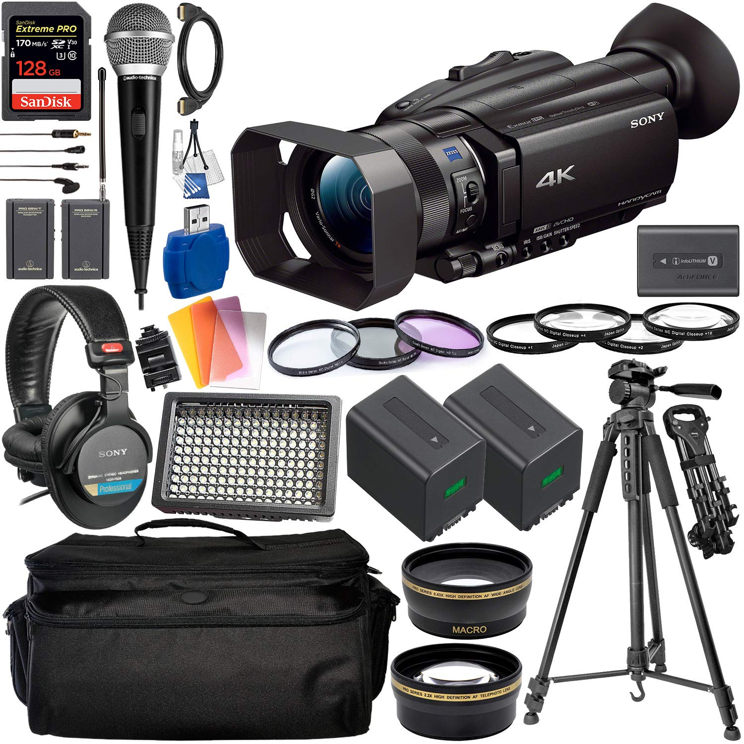 Sony FDR-AX700 4K Camcorder with Deluxe Accessory Bundle - Includes: Audio-Technica VHF TwinMic System + Sony MDR-7506 Headphones + SanDisk Extreme PRO 128GB SDXC Memory Card + More by Sony