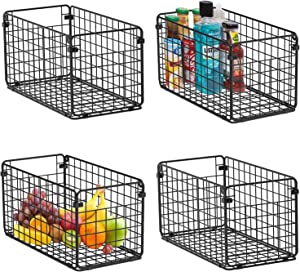 X-cosrack Foldable Cabinet&Wall Mounted Metal Wire Basket Organizer 4 Pack-12x6x6, Farmhouse Food Storage Mesh Basket Bin with Handles for Kitchen Pantry Bathroom Laundry Closet Garage-Patent Applied