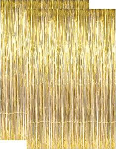 2 pcs Gold Metallic Tinsel Foil Fringe Curtains, Door Backdrop, 3ft x 8ft Decoration for Birthday Graduation Bridal Shower Baby Wedding Party Bachelorette Photo Booth Gatsby 1920 New Years
