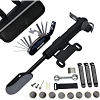 DAWAY A35 Bike Repair Kit - 120 PSI Mini Pump & 16 in 1 Bicycle Multi Tool with Handy Bag Included Glueless Tire Tube…
