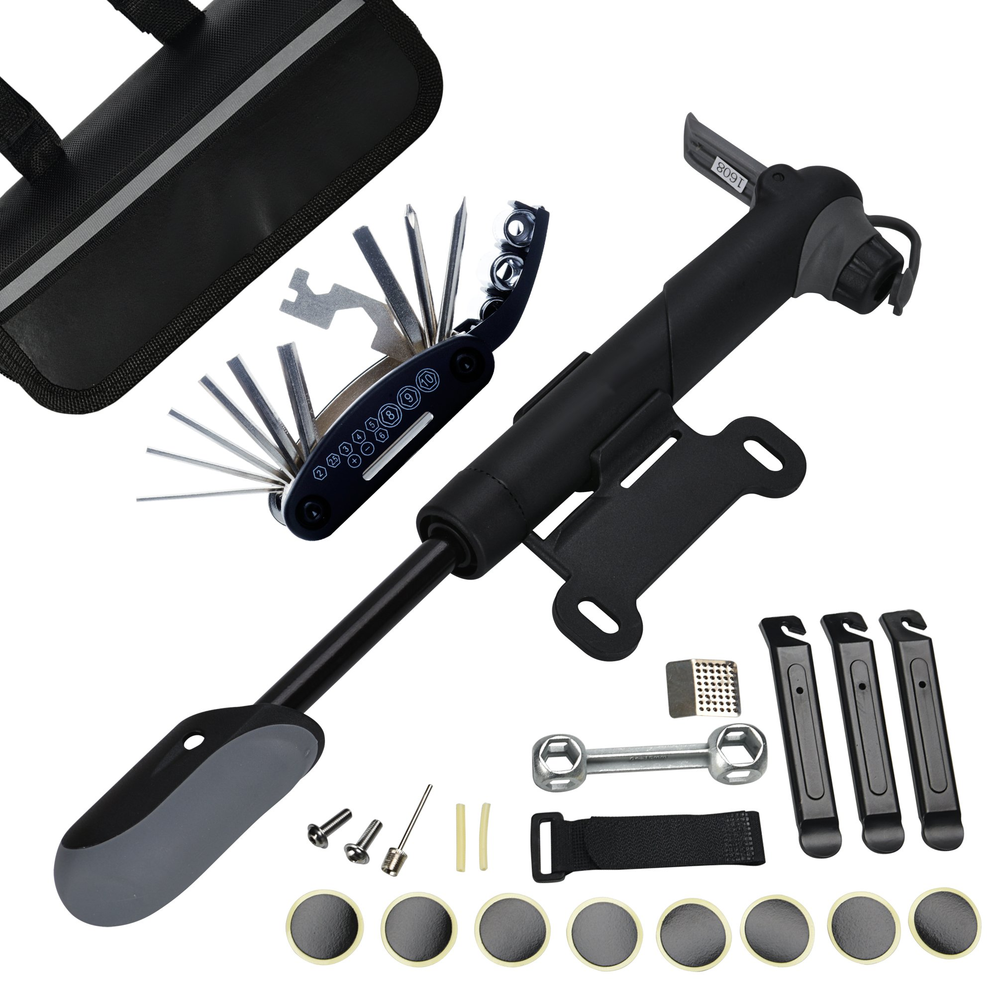 DAWAY A35 Bike Repair Kit - 120 PSI Mini Pump & 16 in 1 Bicycle Multi Tool with Handy Bag Included Glueless Tire Tube Patches & Tire Levers