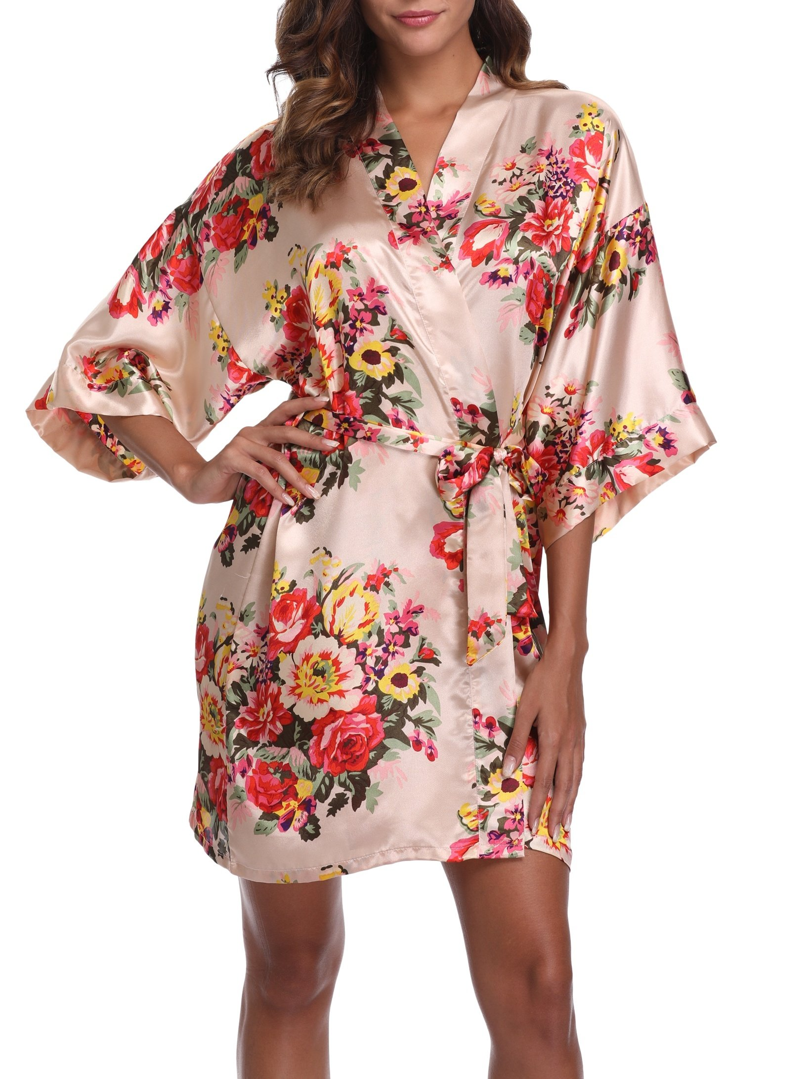 1stmall Floral Satin Kimono Short Style Bridesmaids Robes for Women, Champagne XL