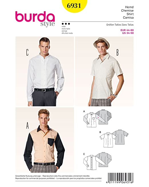 Men's Vintage Reproduction Sewing Patterns Burda Mens Sewing Pattern 6931 - Shirts Sizes: 34-50 $12.00 AT vintagedancer.com