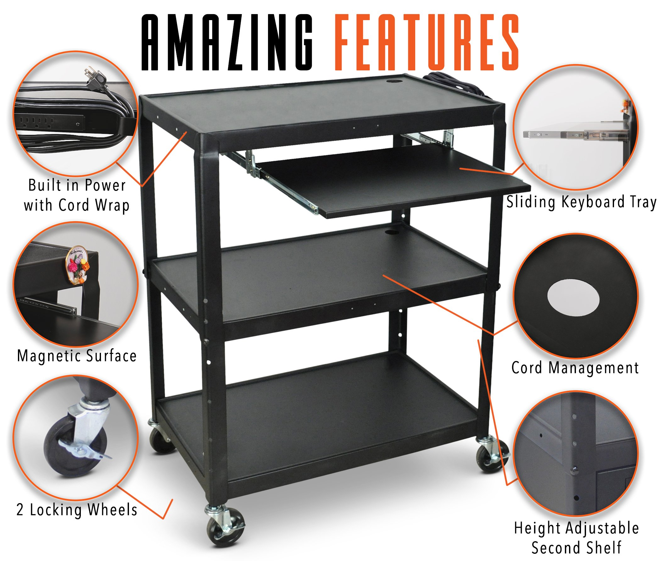 Line Leader Extra Wide AV Cart with Lockable Wheels -Adjustable Shelf Height- Includes Pullout Keyboard Tray and Cord Management! (42x32x20) (Extra Wide AV Cart - Black) by Stand Steady (Image #2)