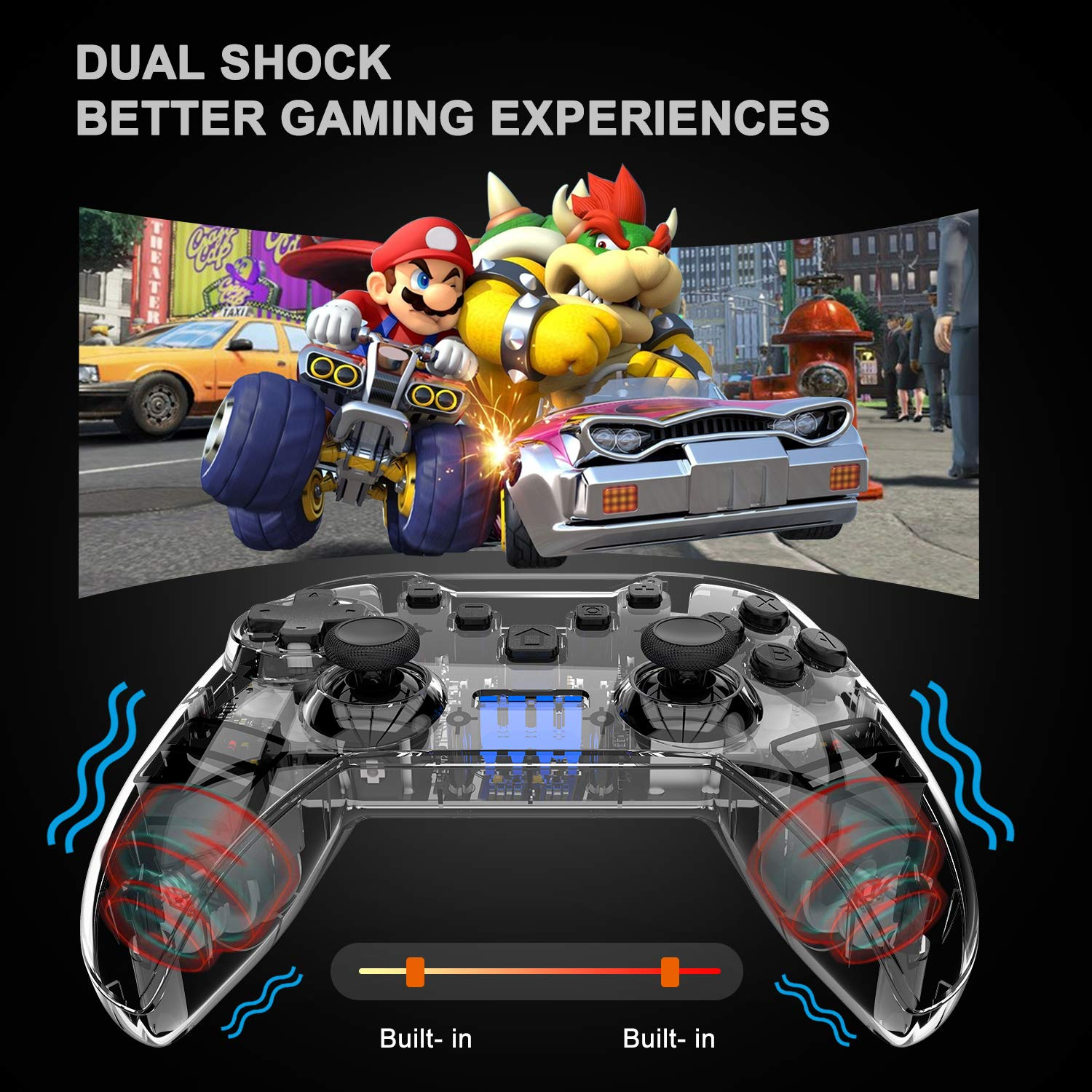 N-intendo Switch Pro Controller - Wireless Controller Remote with Dual Shock, Gyro Axis, Pro Switch Controller Gamepad Compatible with Bluetooth for N-intendo Switch Console (Clear)