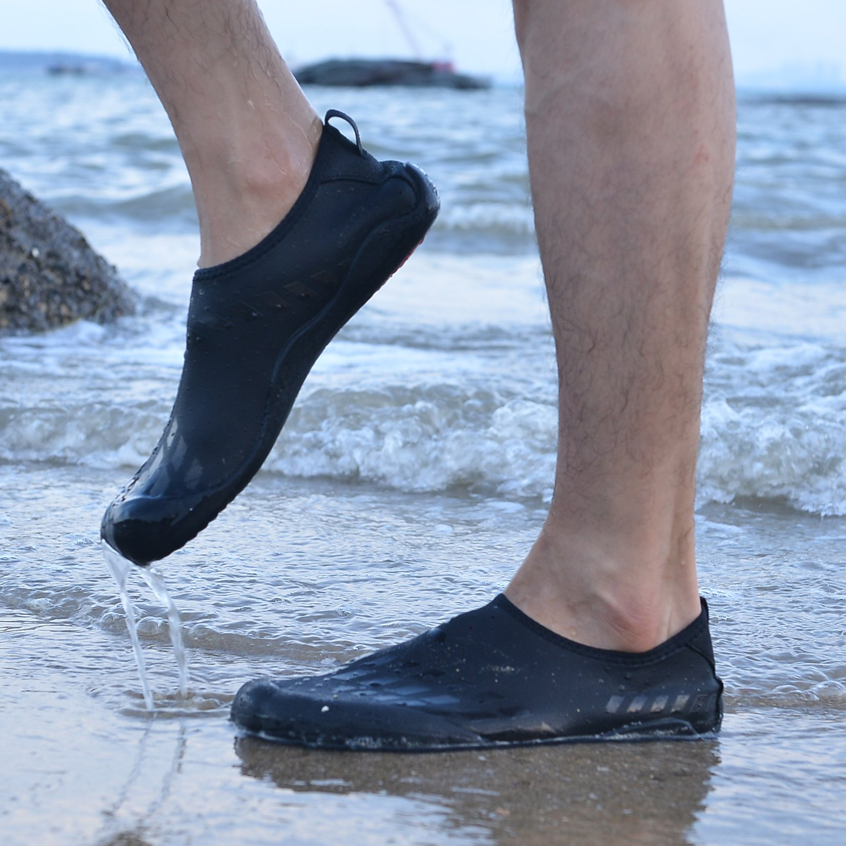 APTESOL Hiking Water Shoes Mens Womens Quick Dry Beach Swim Barefoot Aqua Socks Shoes for Pool Surf Yoga Water Sports(Black,44) by APTESOL (Image #5)