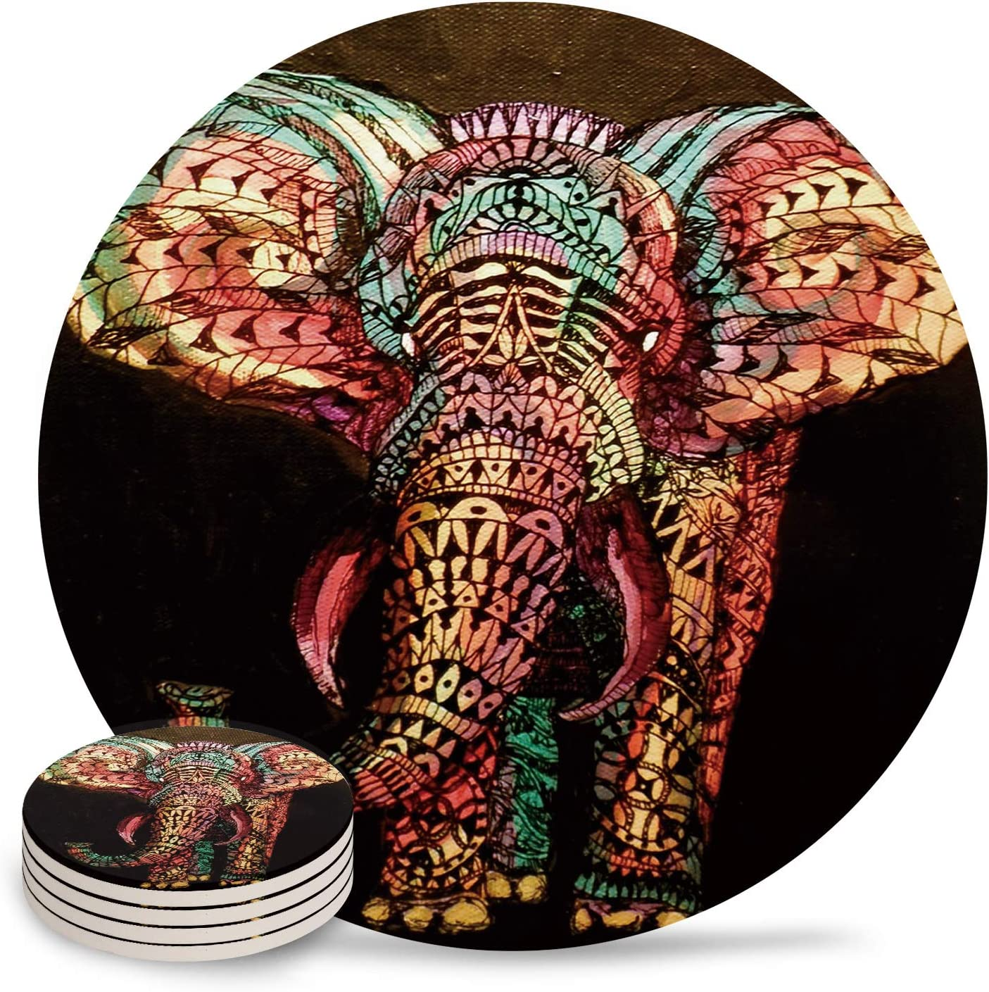 Set of 6 Cork Drink Coasters Elephant In Love