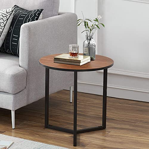 VECELO Round Coffee Side Accent Sofa Table with Metal Frame for Living Room Bedroom, Easy Assembly, Brown