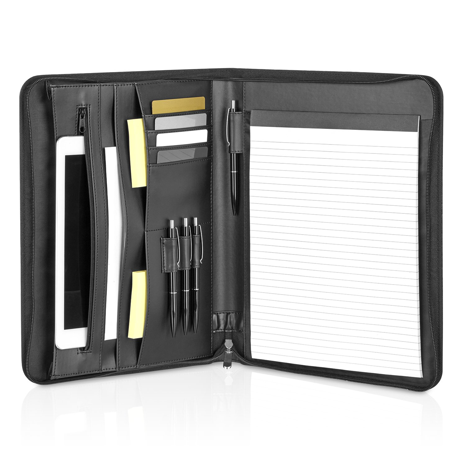 GOODMAN Wallstreet astuccio in pelle A4 con cerniera e scomparti iPad, Macbook Air - elegante scatola nera per documenti e conferenze - Business Organizer in similpelle