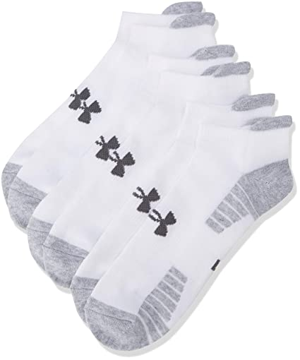 Under Armour Heat Gear Tech No Show Calcetines, Hombre, Blanco y Acero, Large