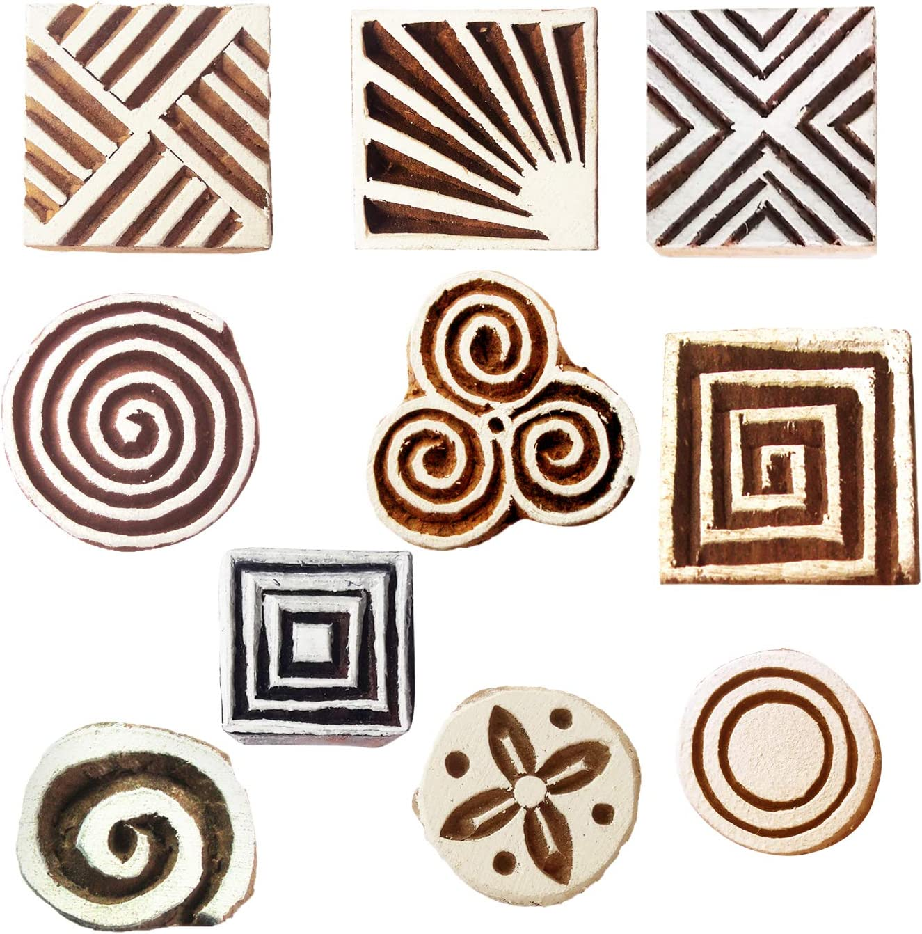 Clay Pottery Textile Printing Set of 10 Temporary Tattoos Royal Kraft Blocks for Block Printing Stamps Wooden Printing Block for Saree Border