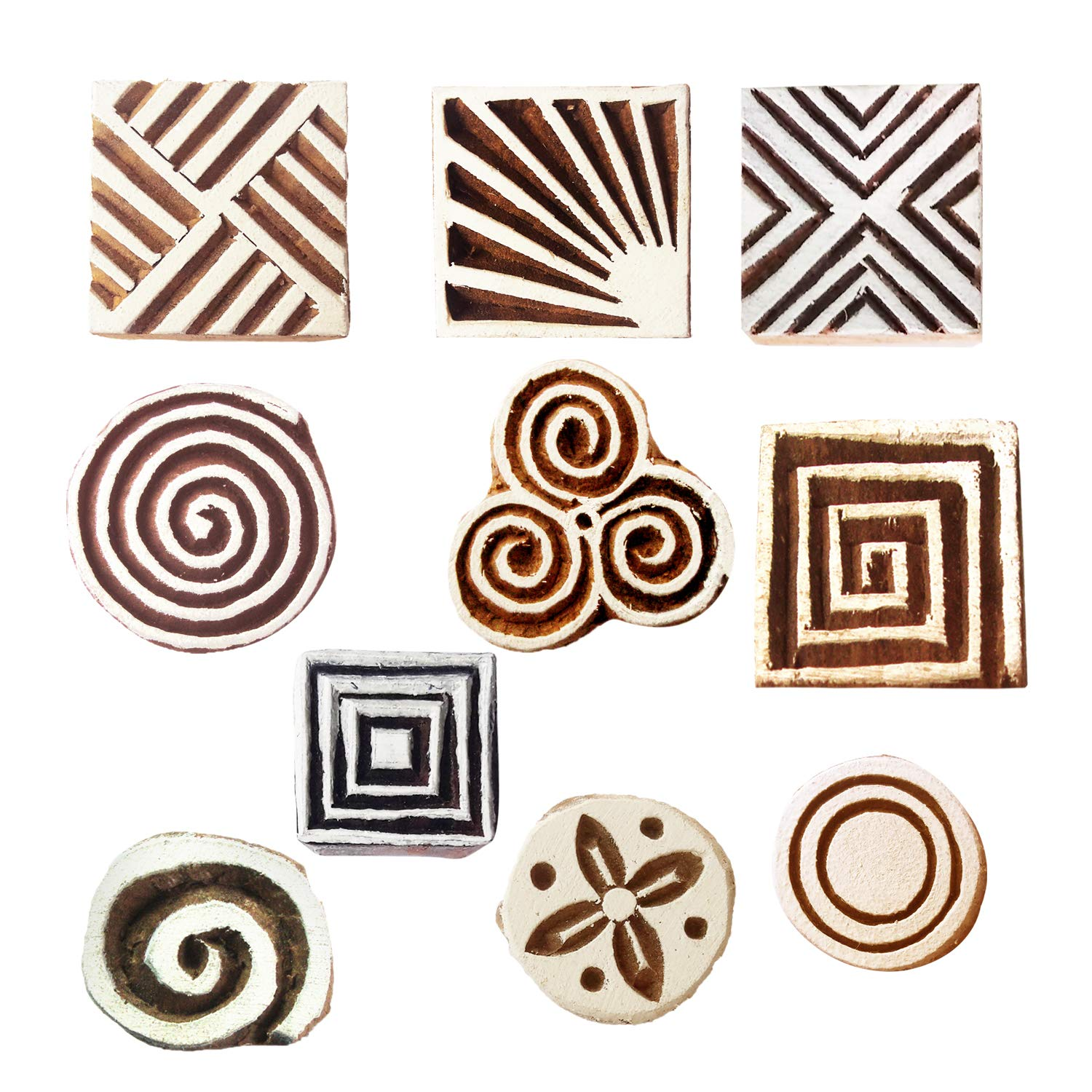 Royal Kraft Round Wooden Printing Stamps DIY Henna Fabric Textile Paper Clay Pottery Block Blocks Htag2191 Set of 10