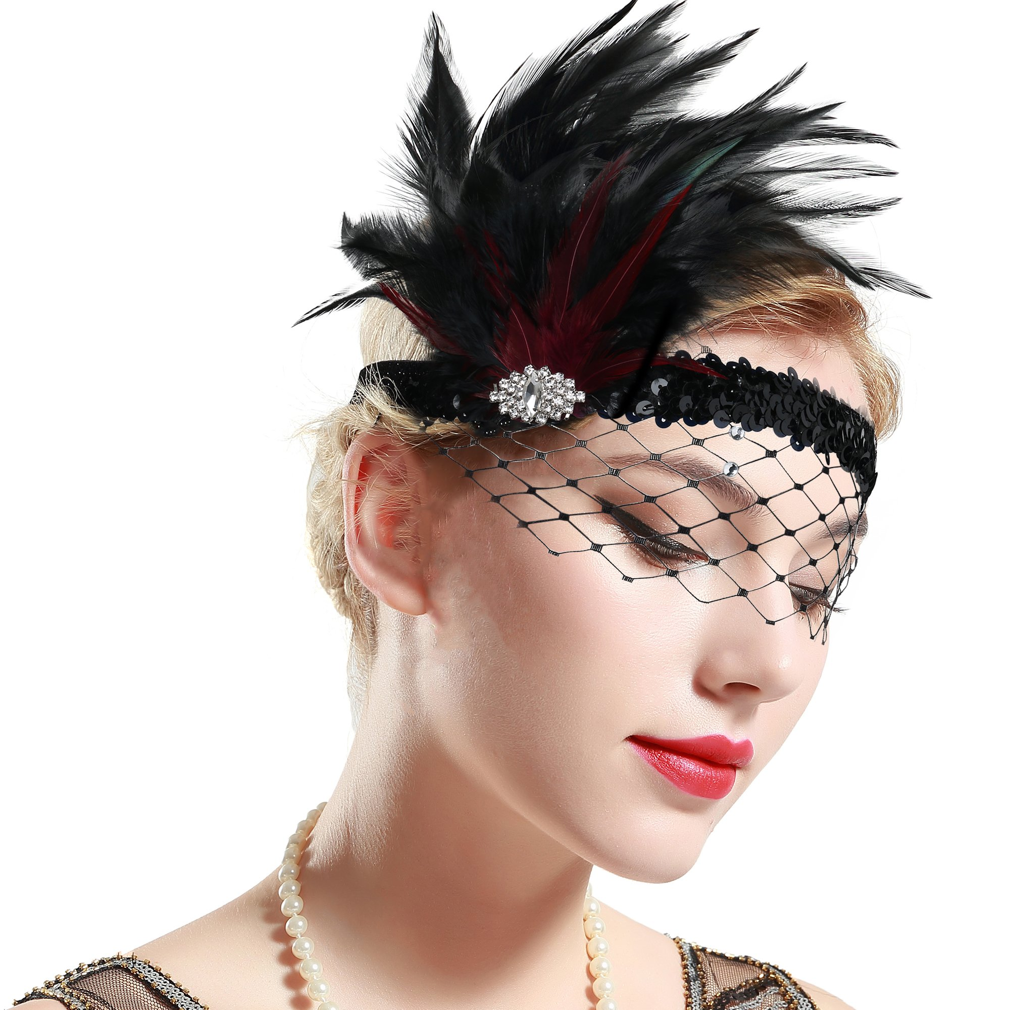 BABEYOND 1920s Flapper Headband Roaring 20s Feather Headpiece Crystal Great Gatsby Headband with Net 1920s Flapper Accessories