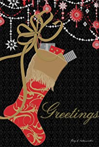 Toland Home Garden Sparkly Stocking 12.5 x 18 Inch Decorative Christmas Ornament Gift Greetings Garden Flag