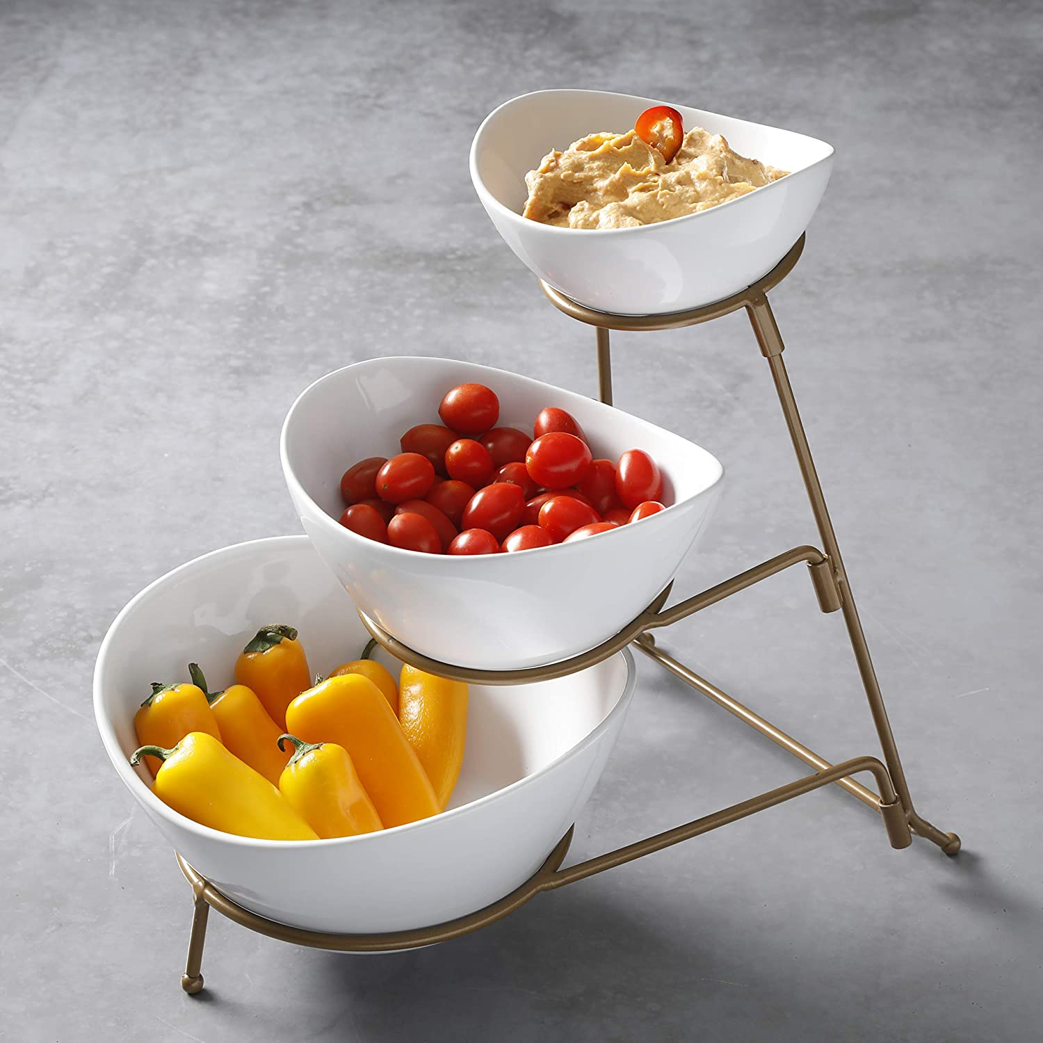 (Gold) - Gibson 3 Tiered Oval Chip And Dip Set With Metal Rack, Three Tier Dessert And Snack Server - Gold Wire (Gold)  ゴールド B07GWL2V58