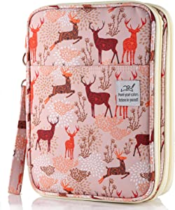 Shulaner Colored Pencil Case Slot Holds 192 Pencils or 144 Gel Pens with Zipper Closure Large Capacity Polyester Pen Organizer for Marker Watercolor Coloring Pencil Gel Pen