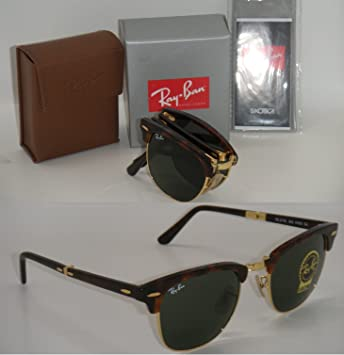 21c773852f ... shop ray ban folding clubmaster rb 2176 990 51mm havana frmae with  green g 15 51mm