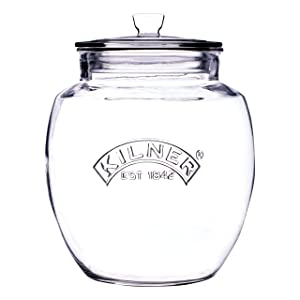 Kilner Glassware Universal Storage Jar, Durable Multi-Purpose Glass Container with Airtight Push-top Lid, 135-Fluid Ounces