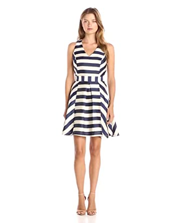 Amazon Com Adelyn Rae Women S Stripe Fit And Flare Dress