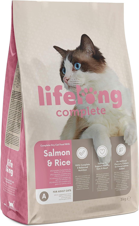 Marca Amazon - Lifelong Complete- Alimento seco completo para gatos adultos con salmón y arroz, 1 x 3 kg