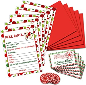 Letter To Santa Writing Kit- Pack of 5- Fill In The Blank 5 x 7