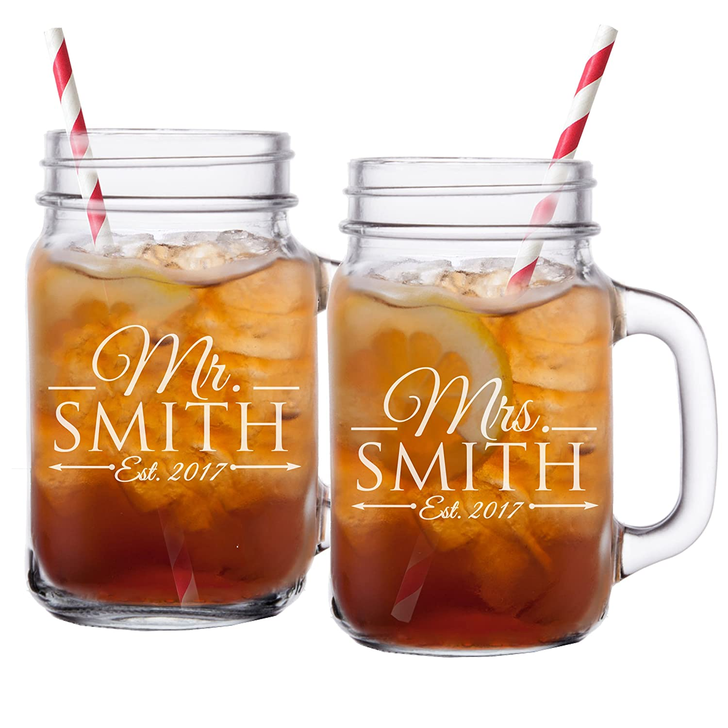 Mr and Mrs Mason Jar Glasses - His and Her Gifts for Couples - Personalized Engraved Wedding Gifts - Custom Monogrammed for Free - Set of 2