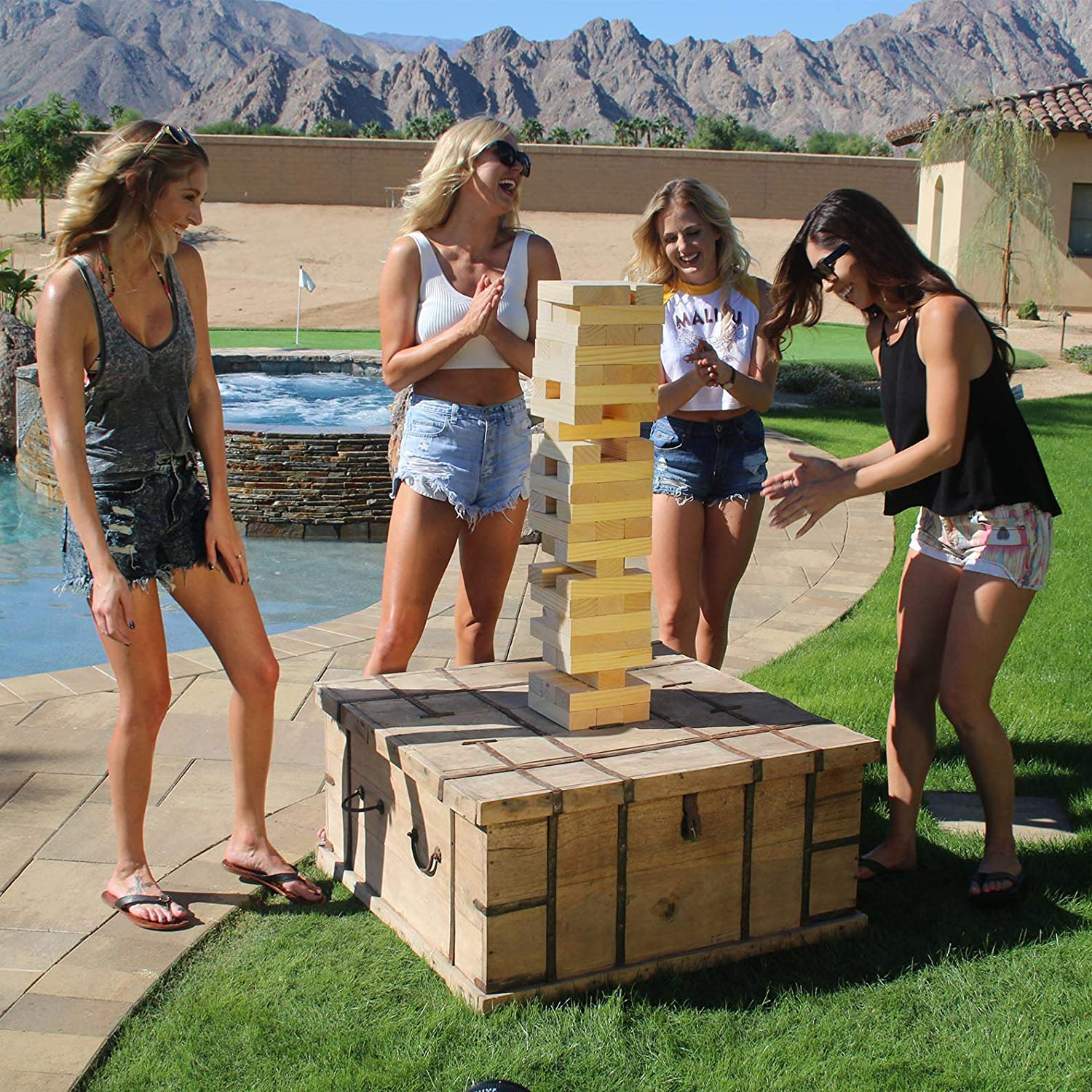 GoSports Giant Wooden Toppling Tower Made from Premium Pine | Choose Between Natural Gray Stain or Stars and Stripes Brown Stain Includes Bonus Rules with Gameboard Stacks to 5+ Feet