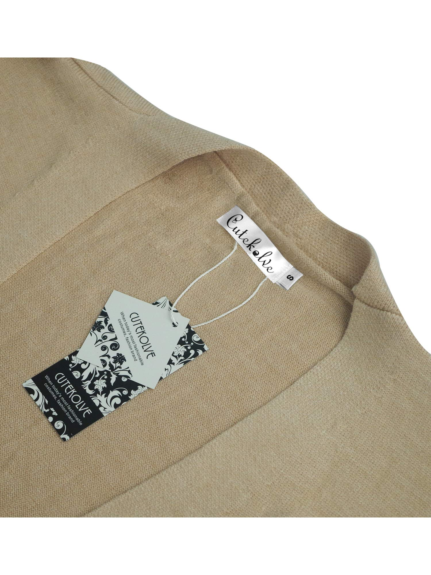 Womens Boho Open Front Cardigan Colorblock Long Sleeve Loose Knit Lightweight Sweaters (M, Khaki)