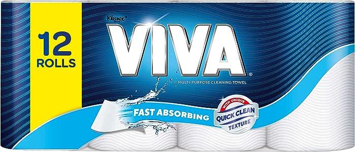 Viva Paper Towel, White (Pack of 12),12 Rolls (60 Sheets Per Roll)