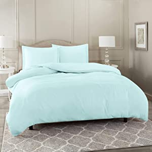 "Nestl Bedding Duvet Cover 3 Piece Set – Ultra Soft Double Brushed Microfiber Hotel Collection – Comforter Cover with Button Closure and 2 Pillow Shams, Baby Blue - King 90""x104"""