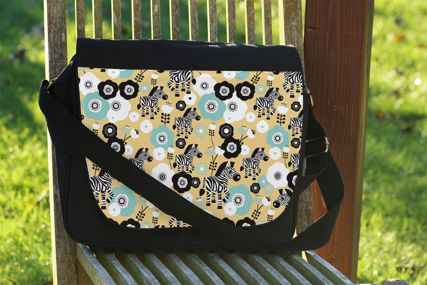 Zebra Blossoms Yellow - One Size Messenger Bag - Messenger Bag by Queen of Cases (Image #2)