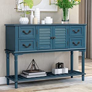 LUMISOL Console Table Sideboard Entryway Sofa Table with 4 Storage Drawers, Shutter Doors and Bottom Shelf (Antique Navy)