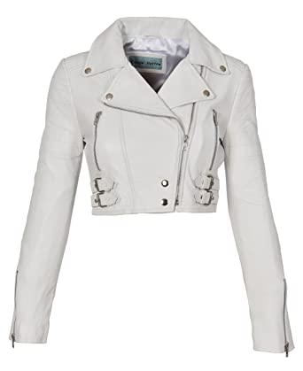 4a8ba24aa0d10 Ladies Cropped Short Length Leather Jacket Slim Fit Biker Style Demi White  (X-Small