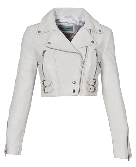 A1 FASHION GOODS White Leather Womens Biker Jacket Short ...