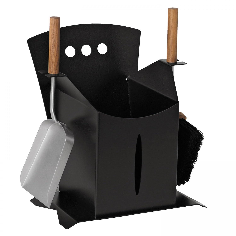 Kaminbesteck 2-tlg., schwarz beschichtet, Griffe Nussholz