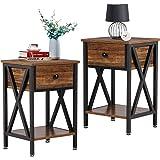 VECELO Modern Night Stand Drawer Versatile Nightstands Lamp Side/End Storage Shelf Table for Living Room Bedroom, Brown/Set o