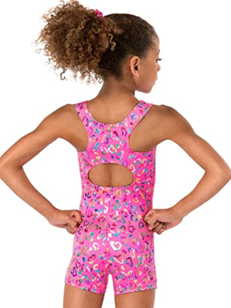 bcfee73b6 Amazon.com  Child and Toddler Foil Heart Tank Gymnastics Biketard ...